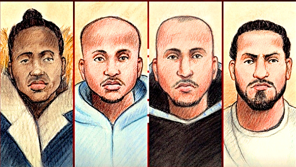 4 of the 5 men facing charges in connection with the Mohamed Najdi homicide (PHOTO: Lauren Foster-MacLeod--CBC)